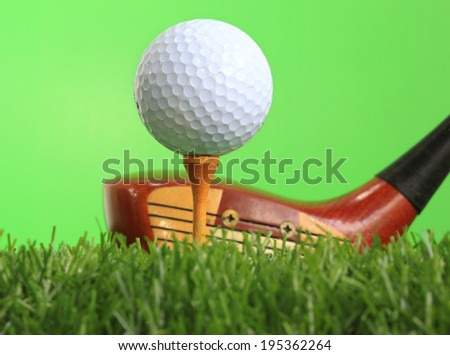 Golf Ball and Driver - stock photo