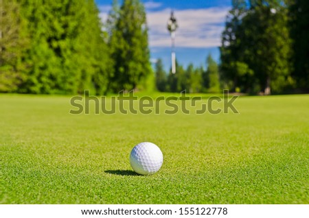Golf ball and flag on a beautiful golf course. Canada, Vancouver.