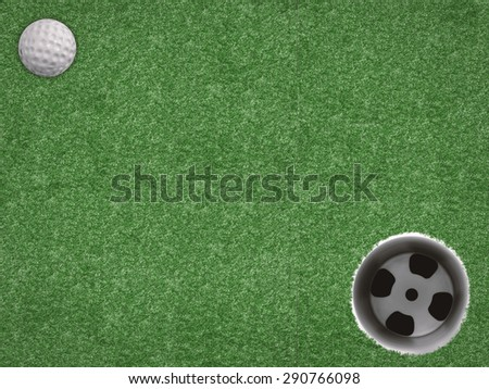 golf ball and golf cup on green - stock photo