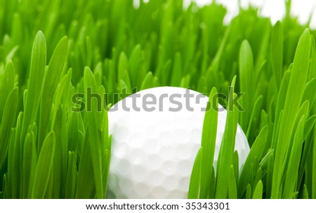 Golf ball and grass isolated on the white background - stock photo