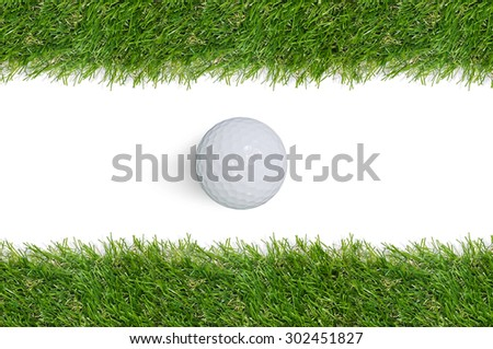 Golf ball and green grass frame with white area for copy space and clipping path.