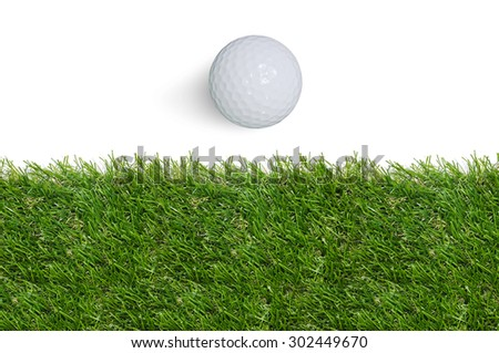 Golf ball and green grass with white area for copy space and clipping path.