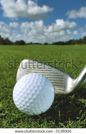 golf ball and iron on fairway