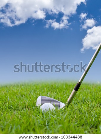 golf ball and iron on tall grass - stock photo