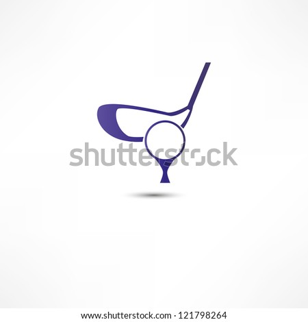 Golf Ball And Putter Icon - stock photo