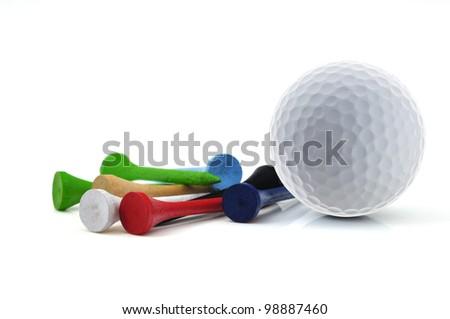 golf ball and tee - stock photo
