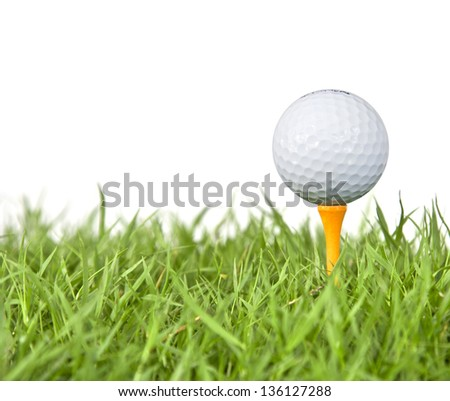 golf ball and tee grass  on white - stock photo