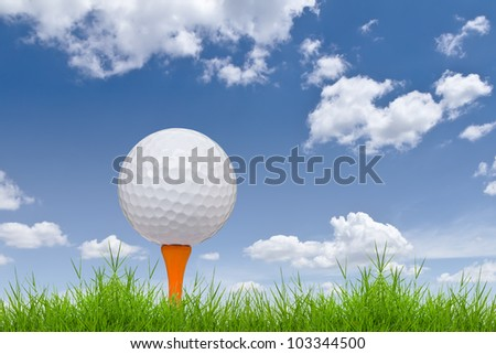 golf ball and tee on tall grass - stock photo