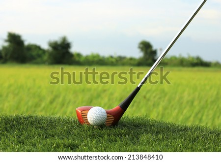 Golf ball and wooden driver on green grass - stock photo