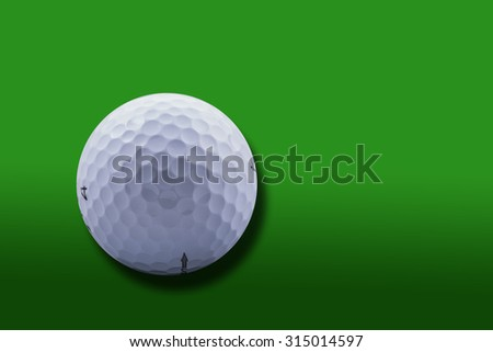 Golf Ball close-up over gradient green background