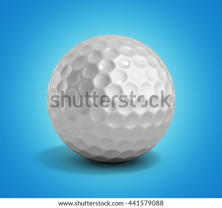 golf ball 3d render on gradient - stock photo