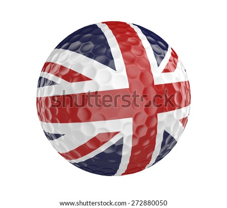 Golf ball 3D render with flag of Britain, isolated on white - stock photo