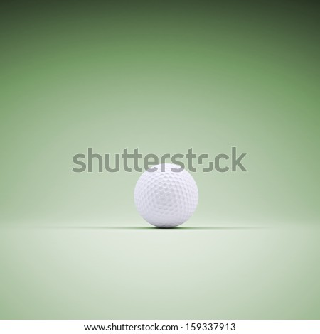 Golf ball. 3d rendering of a green background