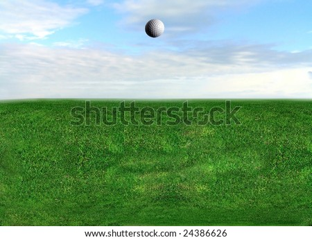 "Golf Ball Flying ""Straight down the middle"" - stock photo"