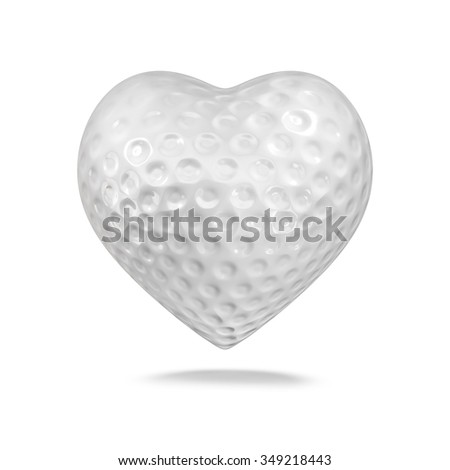 Golf ball heart / 3D render of heart shaped golf ball