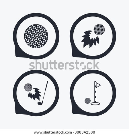 Golf ball icons. Fireball with club sign. Luxury sport symbol. Flat icon pointers. - stock photo