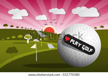 Golf Ball Illustration on Field with Sun and Sky and Heart Shape Love Play Golf Title - stock photo