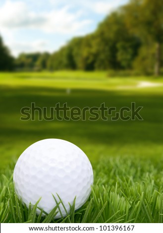 Golf Ball in Grass - Course in Background