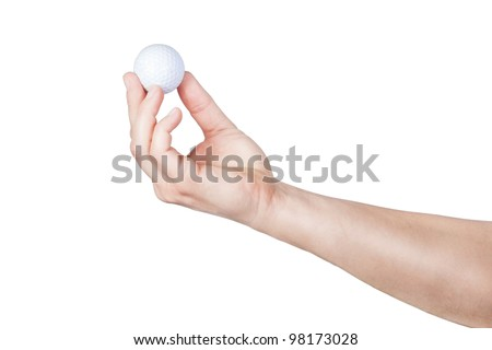 Golf ball in his hand. On a white background. - stock photo