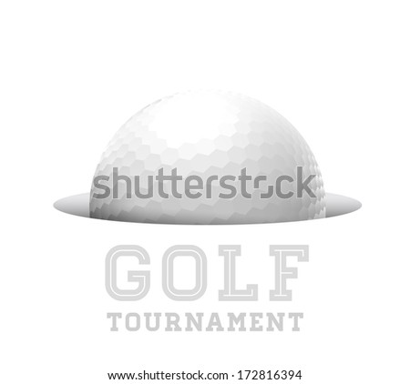 Golf ball in hole.  illustration on white - stock photo