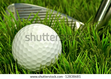 Golf ball in rough - stock photo