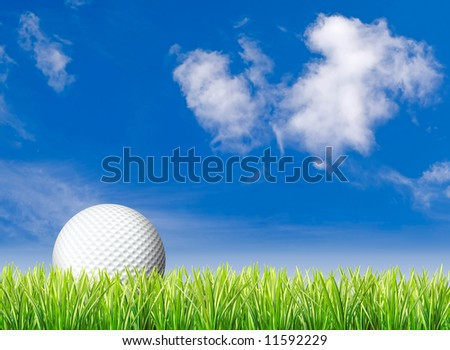Golf ball in tall green grass set against blue sky - stock photo