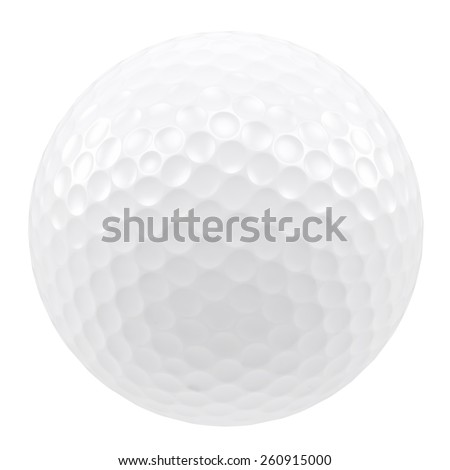 Golf ball isolated on a white background. 3d illustration high resolution - stock photo