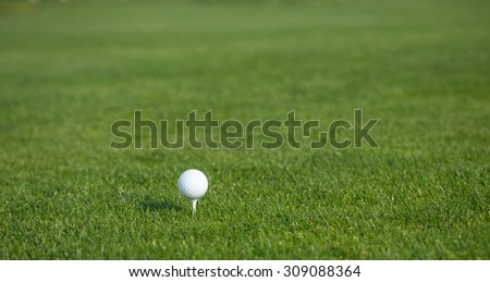Golf ball isolated on beautiful golf green course. Golf ball on grass in front of the green background.