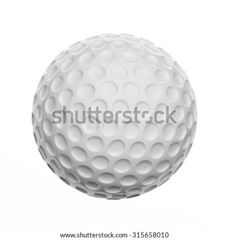Golf ball, isolated on white background - stock photo