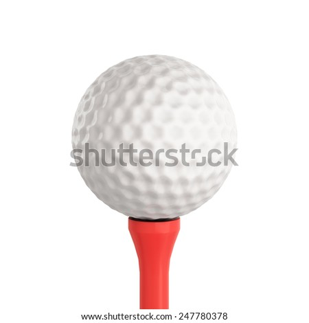 Golf ball isolated on white background. 3d render image. Golf ball close-up. - stock photo