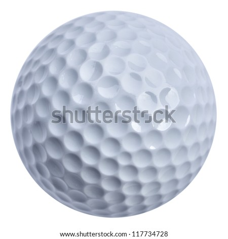 Golf ball isolated with clippin path, real golf ball not 3D rendering - stock photo