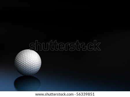 golf ball on a dark blue and black background, the ball is on the bottom left of the picture