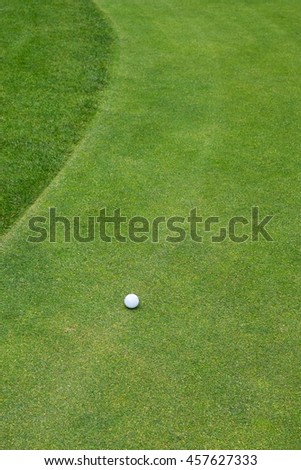 Golf ball on a green next to the fringe