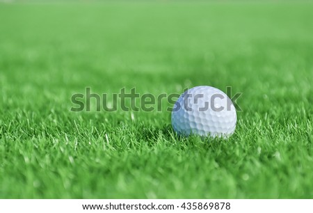 Golf ball on artificial grass,Hua Hin golf Thailand.