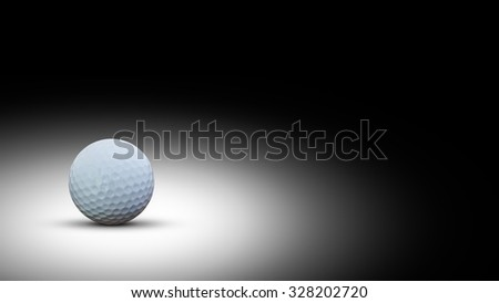 Golf ball on black background with copy space. - stock photo