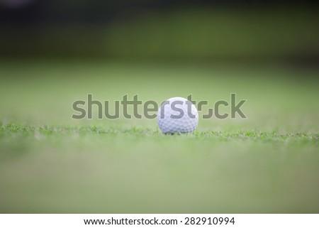 Golf ball on grass - stock photo