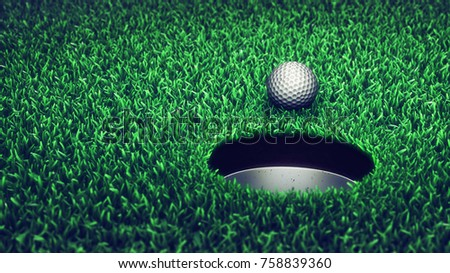 Golf ball on grass course , 3d illustration