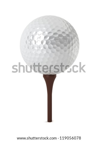 golf ball on grass - 3d render on white - stock photo