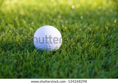 Golf ball on grass green