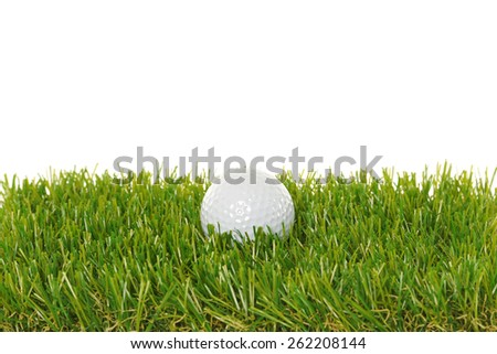 Golf ball on grass with white background