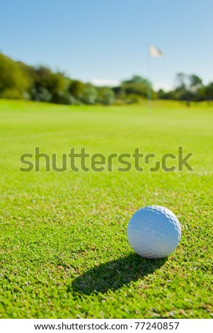 golf ball on green - stock photo