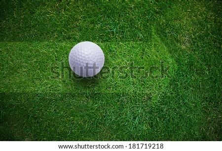 Golf ball on green grass . - stock photo