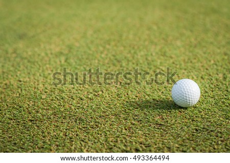Golf ball on green grass course lawn field park nature background with empty copy space: Beautiful natural turf texture backdrop with white golfball for outdoor sport recreation game play activity