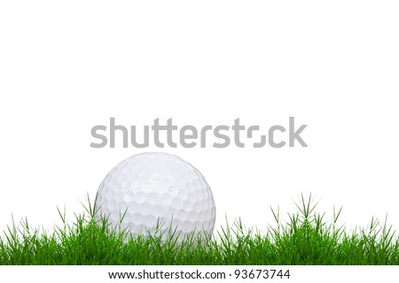 golf ball on green grass isolated on white background - stock photo