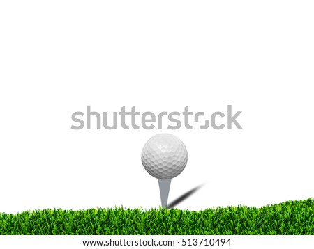Golf ball on green grass over white