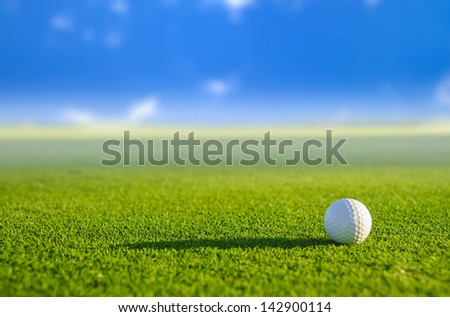 Golf ball on green grass with blur background - stock photo