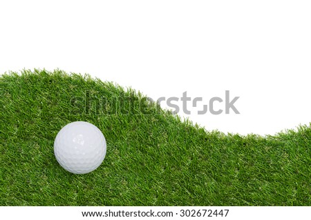 Golf ball on green grass with white area for copy space and clipping path.