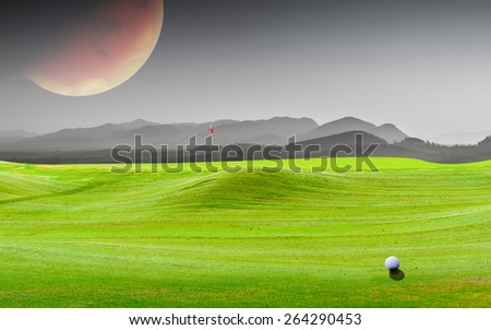 golf ball on green.Image of earth planet. Elements of this image are furnished by NASA