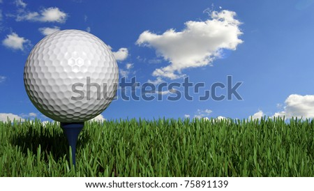 Golf ball on perfect grass placed on peg - stock photo