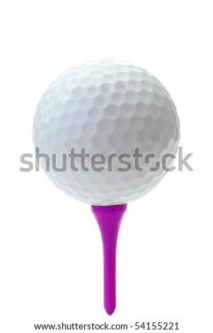 Golf ball on purple tee. - stock photo